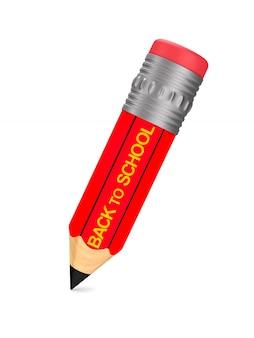 Houten potlood met gum op witte ruimte. terug naar school