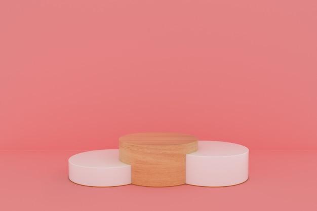Houten productpodium of platform op roze pastelachtergrond