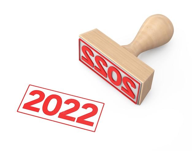 Houten rubberen stempel met 2022 nieuwjaar teken op een witte achtergrond. 3d-rendering