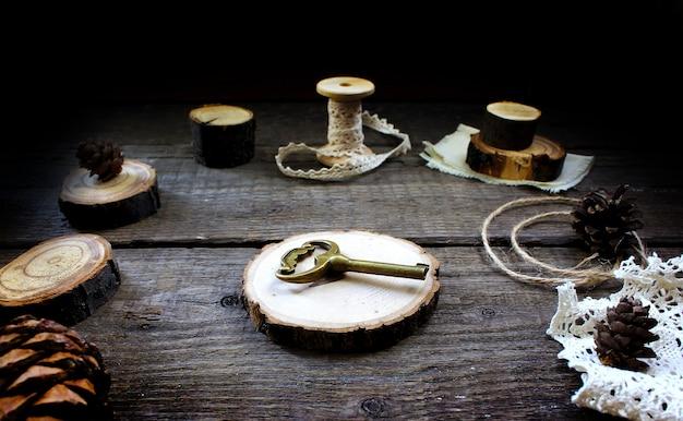 Houten rustieke houten sleutel