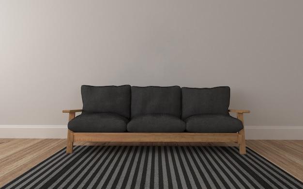 Houten sofa realistisch mockup van 3d teruggegeven van binnenland van moderne woonkamer