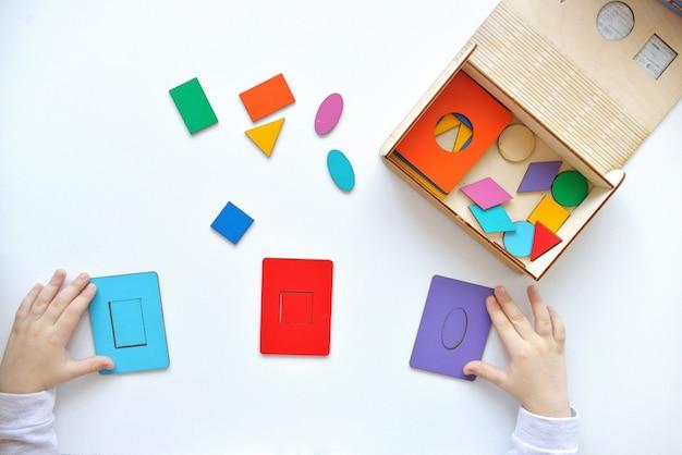 Houten speelgoed voor kinderen. het kind haalt een sorteerder op. educatief logisch speelgoed voor kinderen.