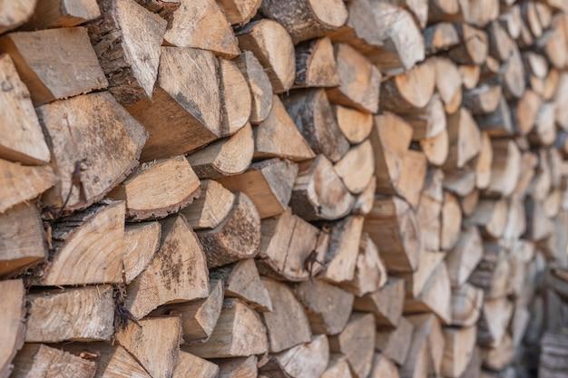 Houten stapel houten achtergrond in perspectief