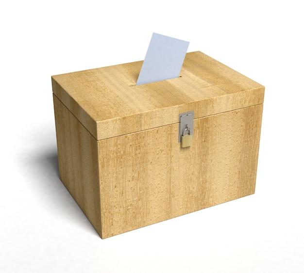 Houten stembus met papier ingevoegd... 3d weergegeven.