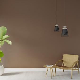 Houten stoel en houten salontafel voor de bruine muur