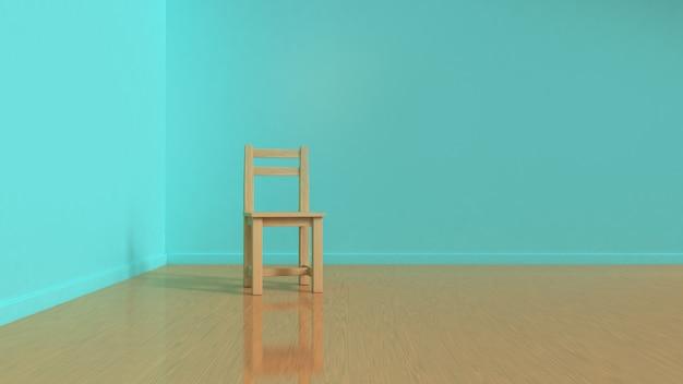 Houten stoel in blauwe kamer met houten vloer interieurs 3d-rendering minimale stijl