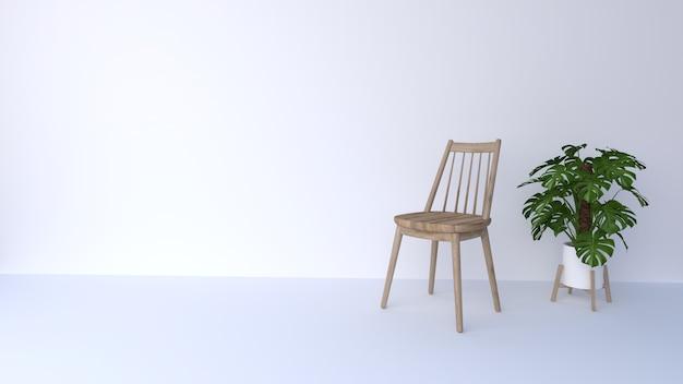 Houten stoel op witte achtergrond en groene bomen
