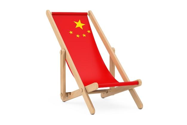 Houten strandstoel met china vlag ontwerp op een witte achtergrond. 3d-rendering