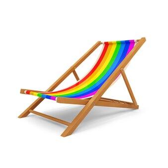 Houten strandstoel op witte achtergrond