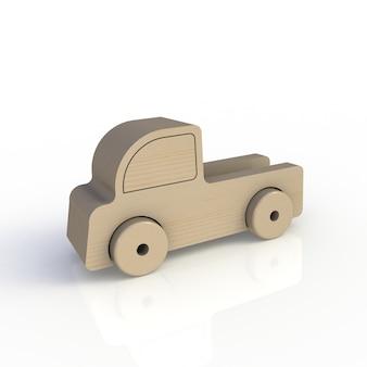 Houten stuk speelgoed auto die op witte achtergrond wordt geïsoleerd