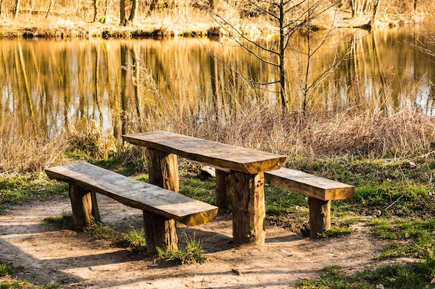 Houten tafel en banken omgeven door groen en een meer in het zonlicht overdag