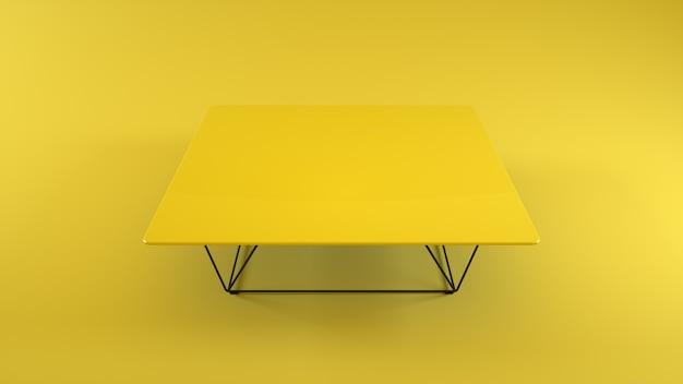 Houten tafel geïsoleerd op gele achtergrond. 3d-afbeelding.