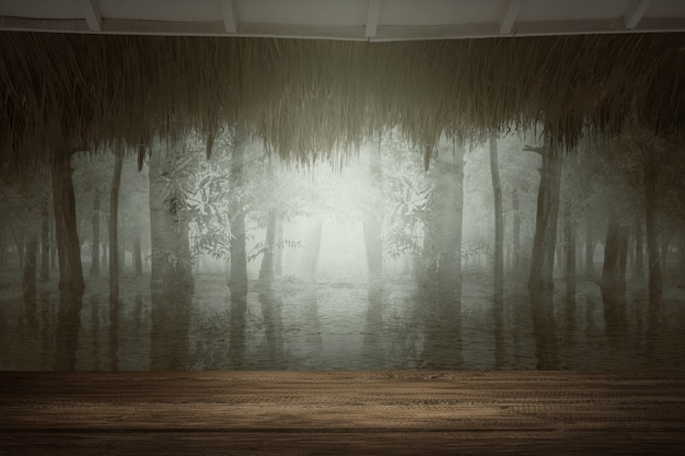 Houten tafel met een meer in het bos met een dramatische scène