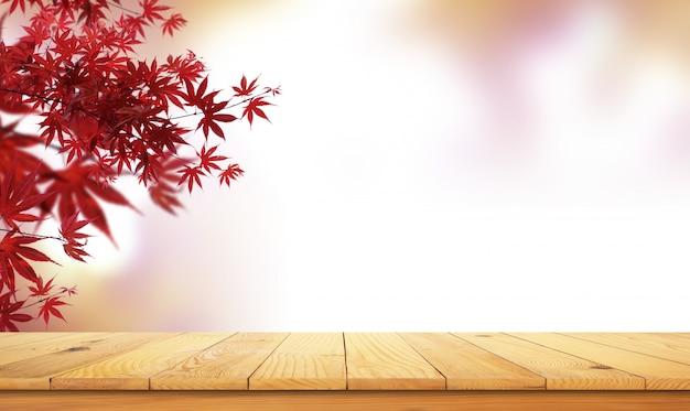 Houten tafel met natuurlijk landschap