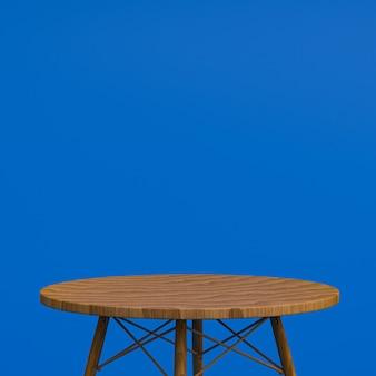Houten tafel of productstandaard voor weergaveproduct op blauwe achtergrond