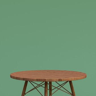 Houten tafel of productstandaard voor weergaveproduct op groene achtergrond