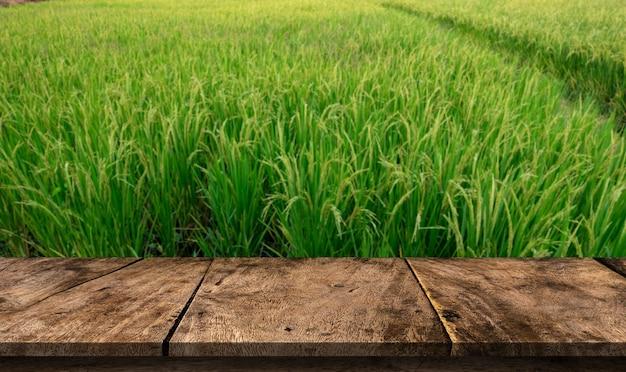 Houten tafel op onscherpe achtergrond van groene rijstveld of houten bord leeg mockup voor weergave van product.
