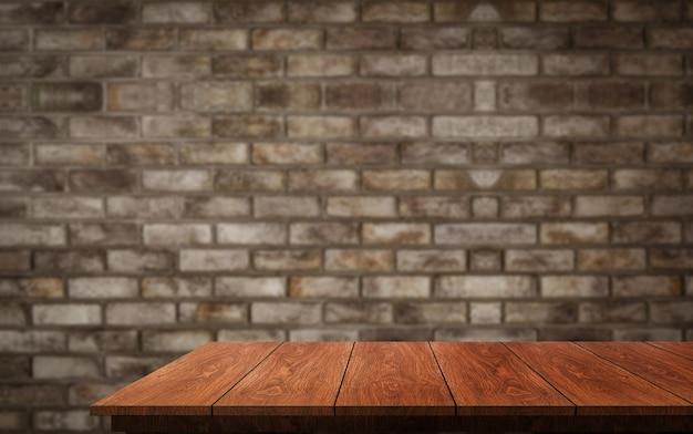 Houten tafel voor rustieke bakstenen muur achtergrond met lege kopie ruimte op de tafel wazig