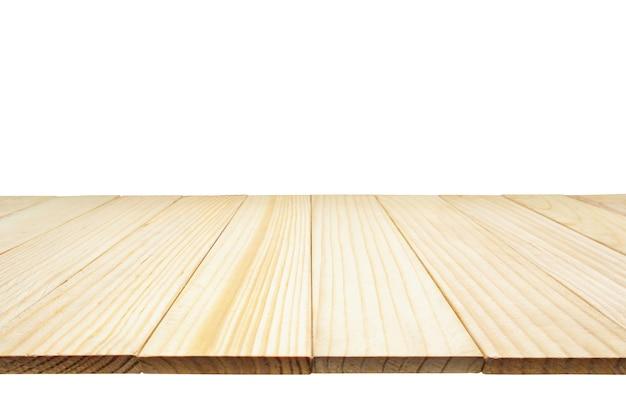 Houten tafelblad geïsoleerd op een witte achtergrond