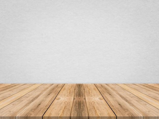 Houten tafelblad op tropische papier textuur muur, template mock up voor weergave van product, zakelijke presentatie.