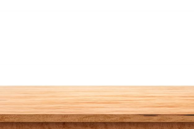Houten tafelblad op witte achtergrond met product vertoning concept. lege houten tafel vloer. 3d-weergave.