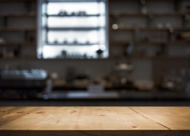 Houten tafelblad teller van café of keuken winkel