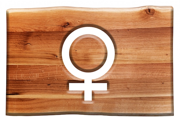 Houten teken met het vrouwelijke symbool