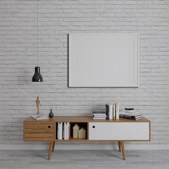 Houten tv-eenheden op de bakstenen muur met horizontaal frame