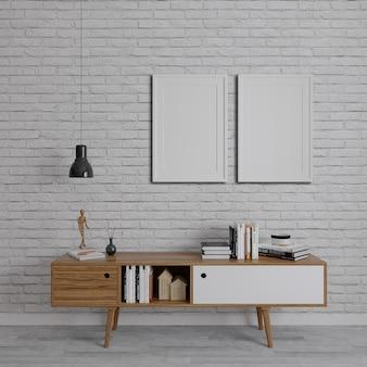 Houten tv-eenheden op de bakstenen muur met twee verticale frame