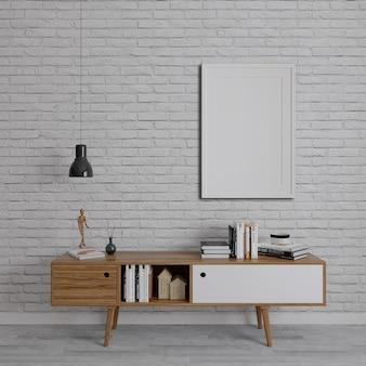 Houten tv-eenheden op de bakstenen muur met verticaal frame