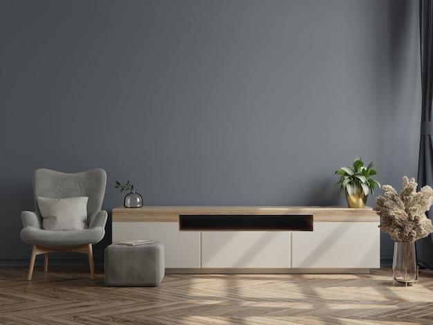 Houten tv-meubelbinnenland met donkere muur. 3d-weergave