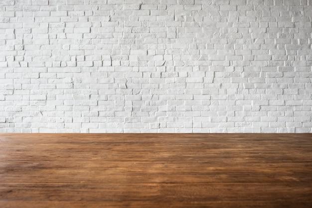 Houten van de de muurstructuur van de baksteenvloer het geweven witte concept