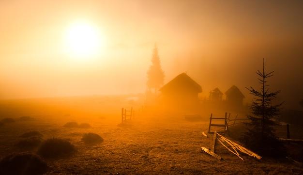 Houten verlaten schuur tijdens zonsondergang. er groeien verschillende bomen in de buurt, een verwoest houten hek