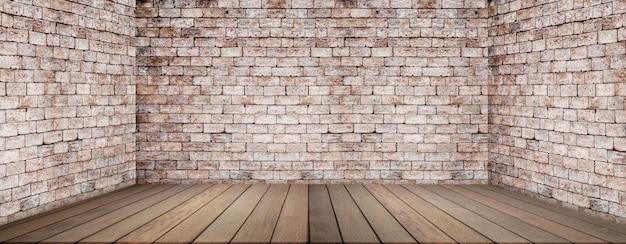 Houten vloer en bakstenen muur, lege ruimte
