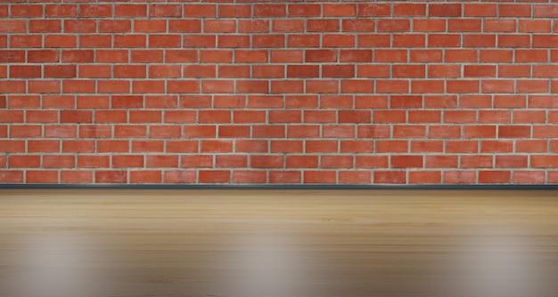 Houten vloer en rode bakstenen muur binnenhuisarchitectuur lege ruimte