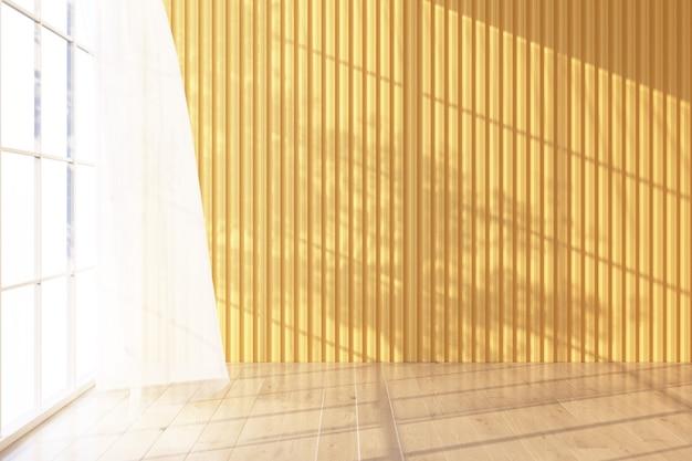 Houten vloer licht schijnt door het raam en er vallen schaduwen op. met gele muur en pure 3d-rendering