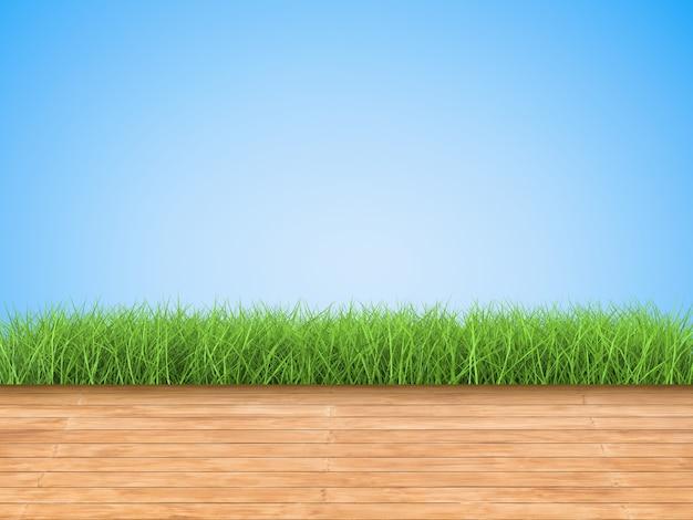 Houten vloer met groen gras op blauwe achtergrond