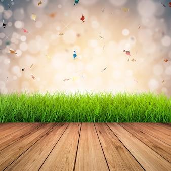 Houten vloer met groen gras op confetti achtergrond