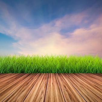 Houten vloer met groen gras op twilight sky background
