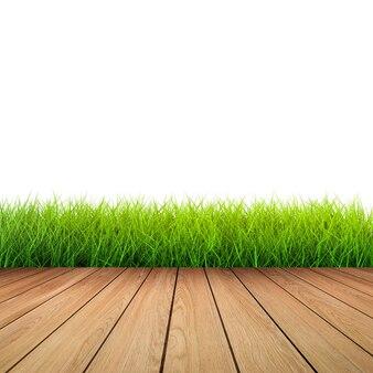 Houten vloer met groen gras op witte achtergrond