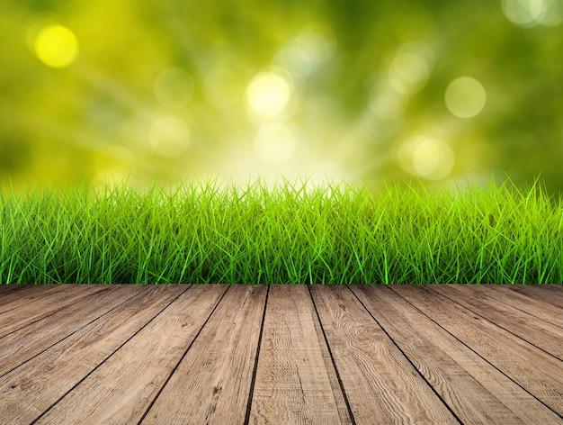 Houten vloer met groene achtergrond