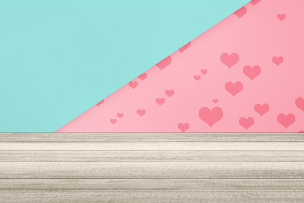 Houten vloer met hart op een gekleurde achtergrond