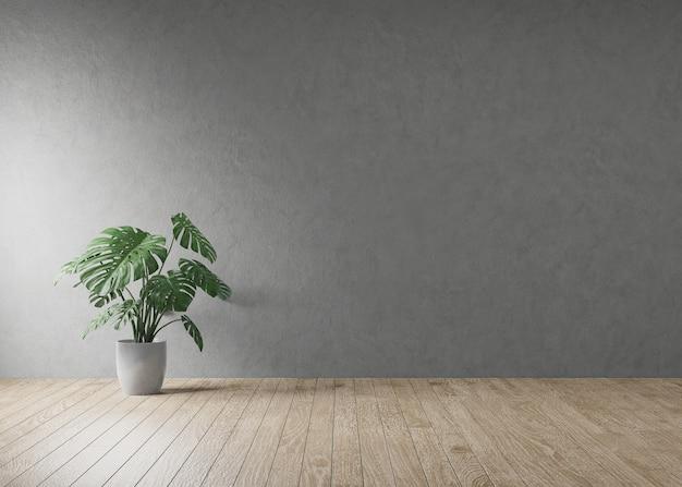 Houten vloer met plantpot en zonlicht vanuit het raam