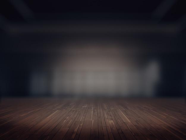 Houten vloer, product showcase spotlight background.3d rendering