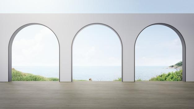 Houten vloer terras van leeg paviljoen in modern huis.