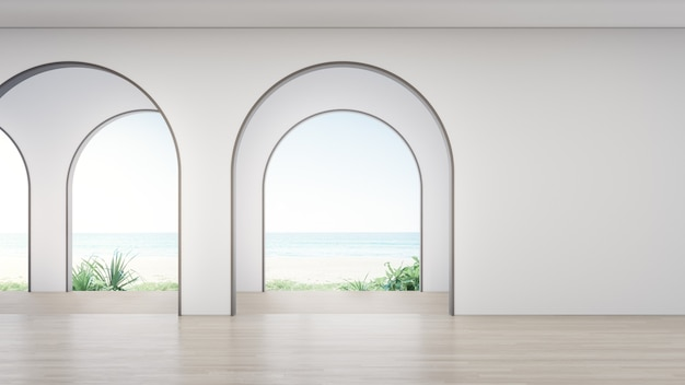 Houten vloer van lege ruimte in modern huis.
