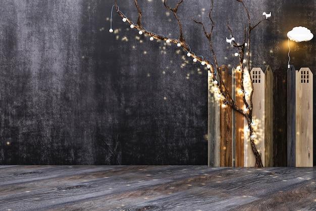 Houten vloerbord of tafel op de achtergrond van de muur voor krijt