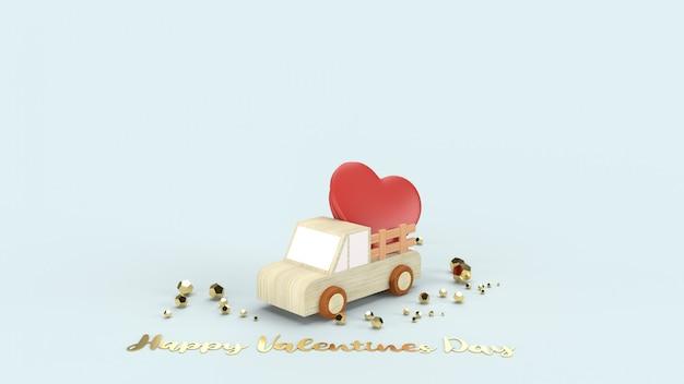 Houten vrachtwagen en rode harten voor valentijnskaarteninhoud.