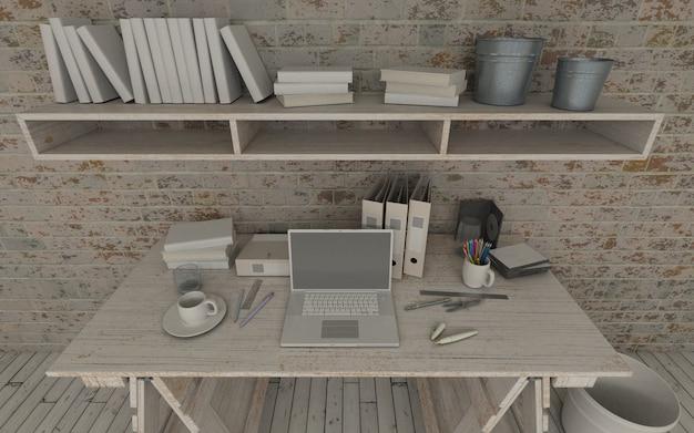 Houten werkruimte ontwerp