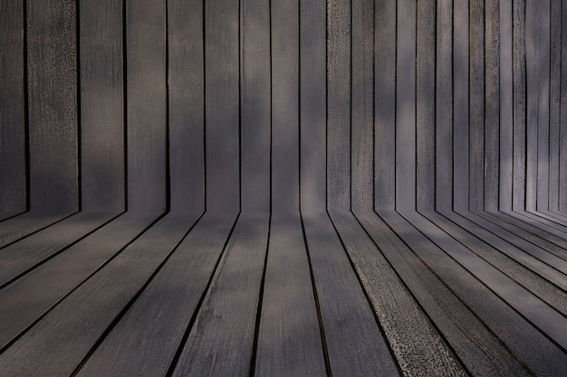 Houtstructuur achtergrond, vintage houten muur in perspectief bekijken, grunge achtergrond